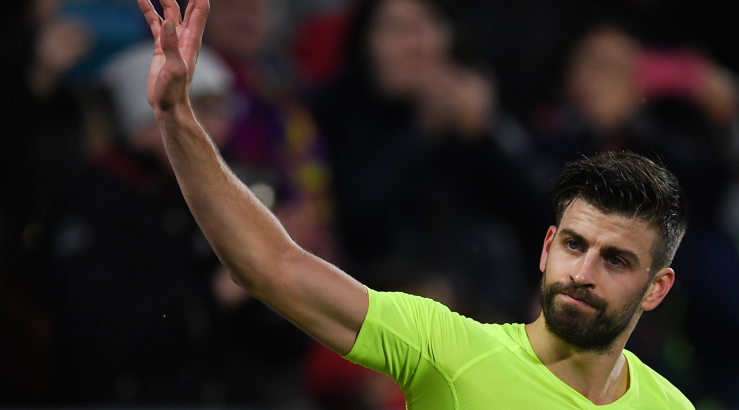 GIRONA, SPAIN - JANUARY 27: Gerard Pique of FC Barcelona celebrates at the endo of the La Liga match between Girona FC and FC Barcelona at Montilivi Stadium on January 27, 2019 in Girona, Spain. (Photo by David Ramos/Getty Images)