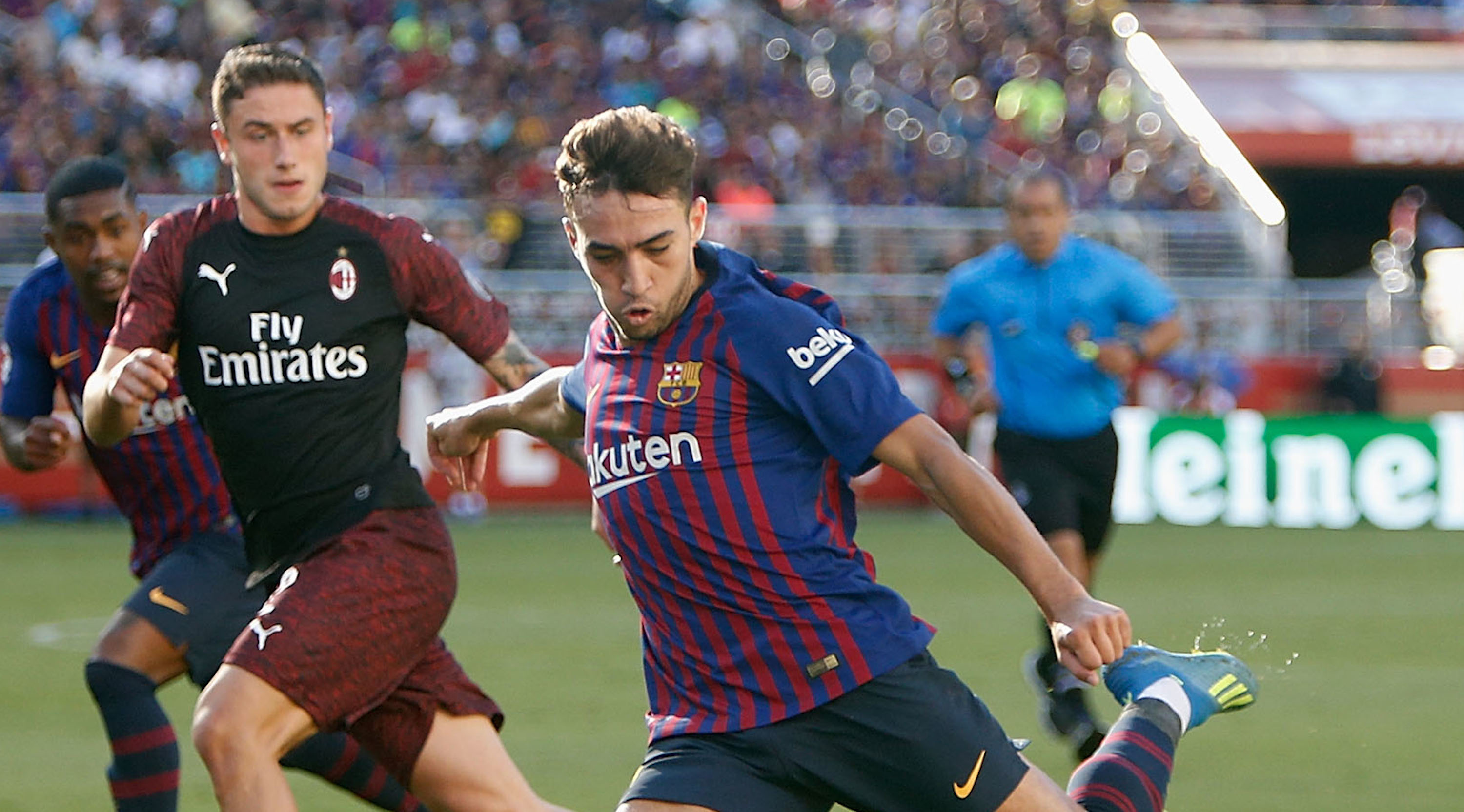 Munir El Haddadi #9 of FC Barcelona shoots at goal during the International Champions Cup match against AC Milan at Levi's Stadium on August 4, 2018 in Santa Clara, California. (Photo by Lachlan Cunningham/Getty Images)