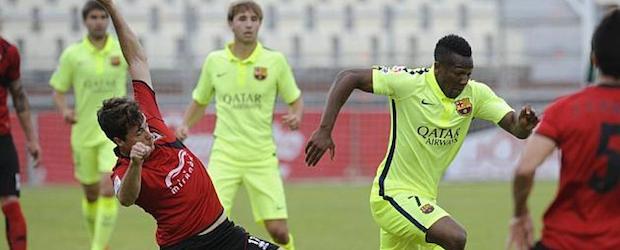 Adama Traoré fue uno de los jugadores más destacados del Barça B en la victoria del filial azulgrana en el campo del Mirandés.