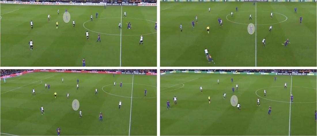 - Algunas de las ocasiones que encontró el Barça para activar a sus jugadores entre líneas. -