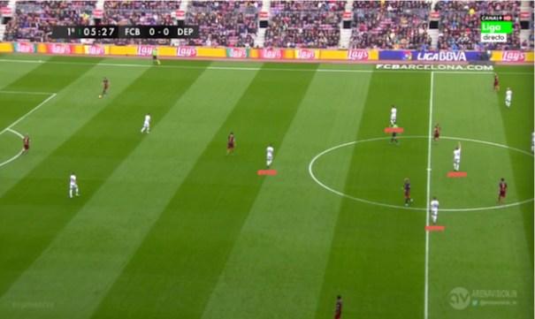 El planteamiento del Deportivo de la Coruña en el Camp Nou., con un rombo en mediocampo que emparejaba a Juanfran, Luisinho y Fajr con Iniesta, Rakitic y Sergio Busquets.