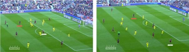 Dos capturas más en las que observar un nuevo matiz en la relación sobre el campo entre Iniesta -en blanco- y Neymar -en rojo-, con el de Fuentealbilla desplazándose a otras zonas del campo como la mediapunta o la banda derecha para habilitarle para no redundar posicionalmente con Neymar.