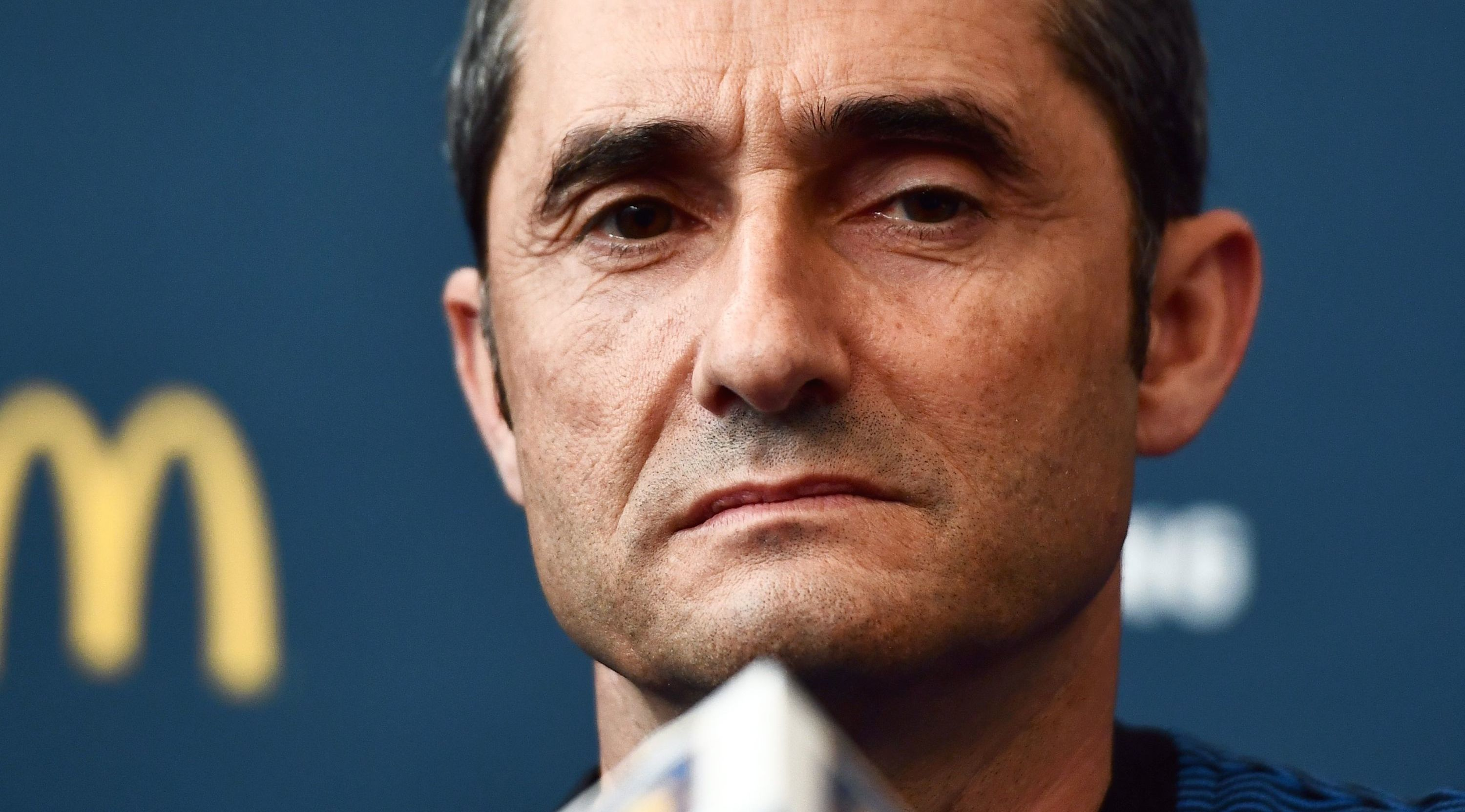 Barcelona's coach Ernesto Valverde speaks during a press conference at the Red Bull Arena in Harrison, New Jersey, on July 21, 2017, a day before his team's match against Juventus FC. / AFP PHOTO / Jewel SAMAD (Photo credit should read JEWEL SAMAD/AFP/Getty Images)