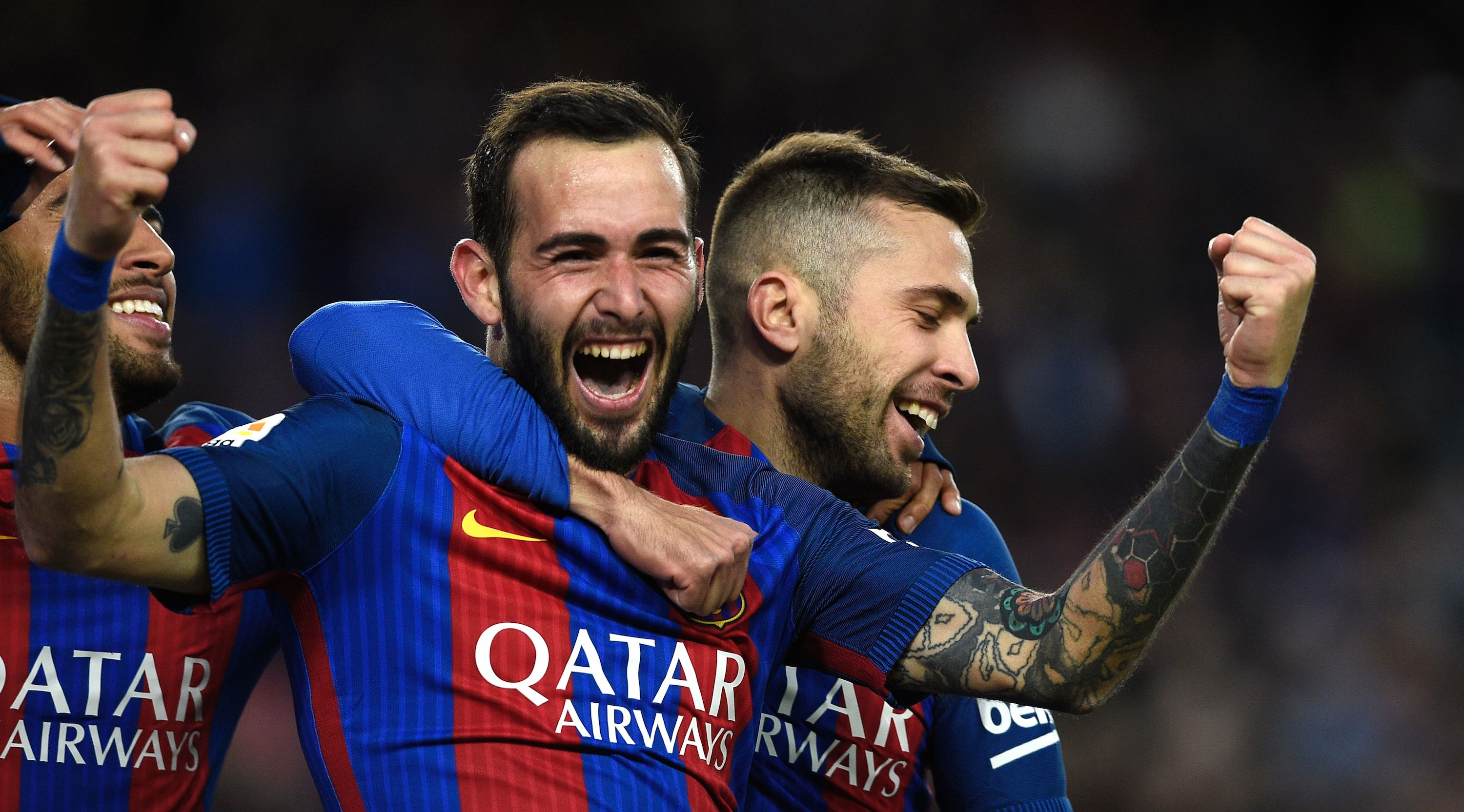 Barcelona's defender Aleix Vidal celebrates after scoring a goal during the Spanish league football match FC Barcelona vs UD Las Palmas at the Camp Nou stadium in Barcelona on January 14, 2017. / AFP / LLUIS GENE (Photo credit should read LLUIS GENE/AFP/Getty Images)