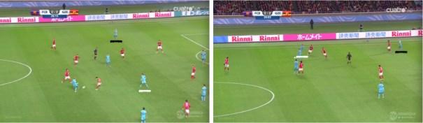 El reparto de espacios entre Iniesta y Sergi Roberto en el perfil izquierdo del ataque del Barça.
