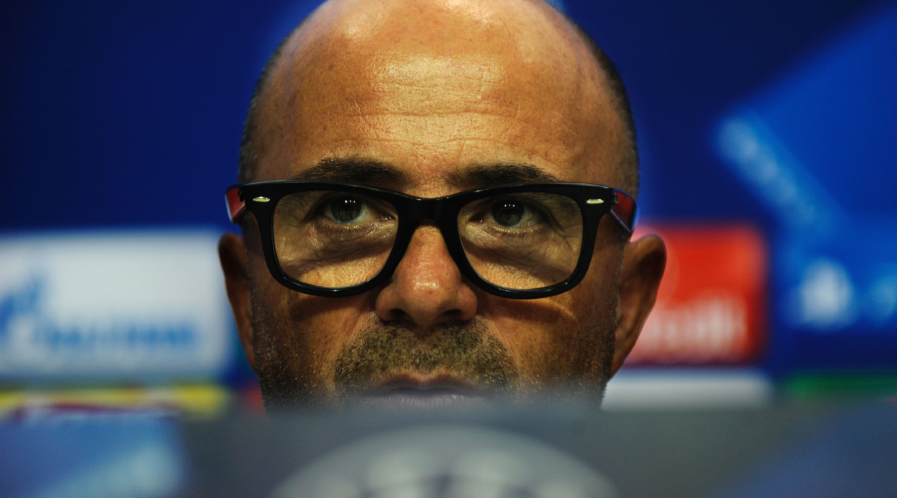Sevilla's Argentinian coach Jorge Sampaoli gives a press conference at the Sanchez Pizjuan's stadium in Sevilla on November 1, 2016, on the eve of the UEFA Champions League football match Sevilla FC vsvs Dinamo Zagreb. / AFP / CRISTINA QUICLER (Photo credit should read CRISTINA QUICLER/AFP/Getty Images)