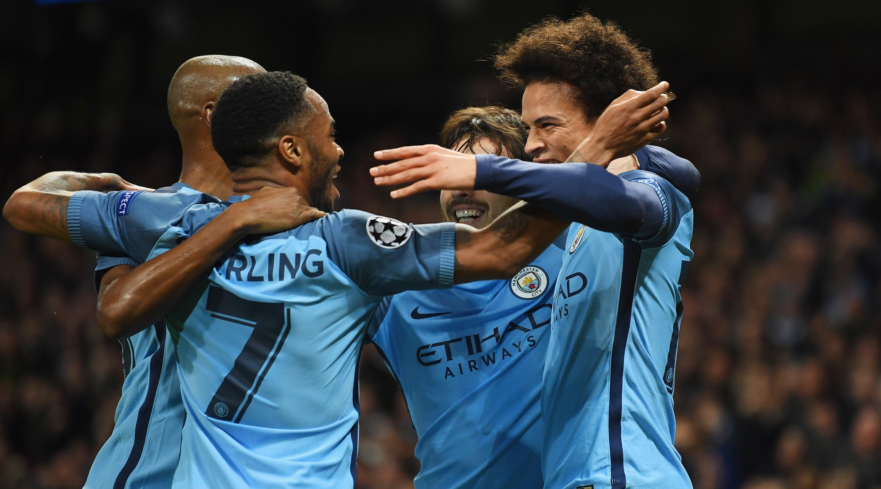 MANCHESTER, ENGLAND - FEBRUARY 21: Raheem Sterling of Manchester City (7) celebrates with team mates as he scores their first goal during the UEFA Champions League Round of 16 first leg match between Manchester City FC and AS Monaco at Etihad Stadium on February 21, 2017 in Manchester, United Kingdom. (Photo by Laurence Griffiths/Getty Images)