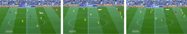 Secuencia en la que se muestra el reparto de carriles entre Iniesta -en blanco- y Neymar -en rojo-. De inicio el brasileño es, de los dos, el más próximo a la cal, pero a medida que el delantero centra su posición Andrés Iniesta decanta la suya hasta terminar completamente abierto a banda izquierda.