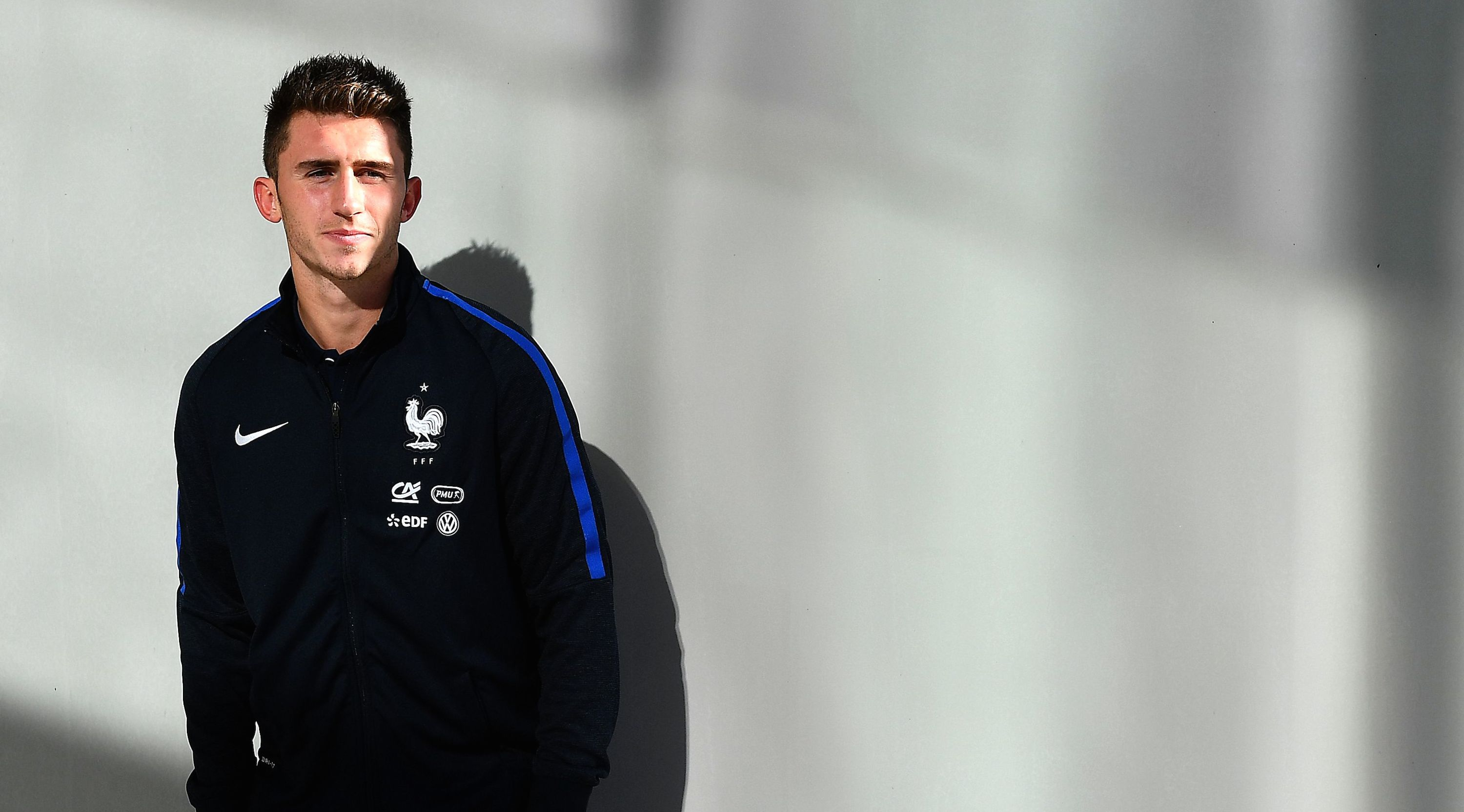 France's defender Aymeric Laporte poses at the end of a press conference in Clairefontaine-en-Yvelines near Paris on October 3, 2016 ahead of the 2018 FIFA World Cup football matches against Bulgaria on October 7 and the Netherlands on October 10. / AFP / FRANCK FIFE (Photo credit should read FRANCK FIFE/AFP/Getty Images)
