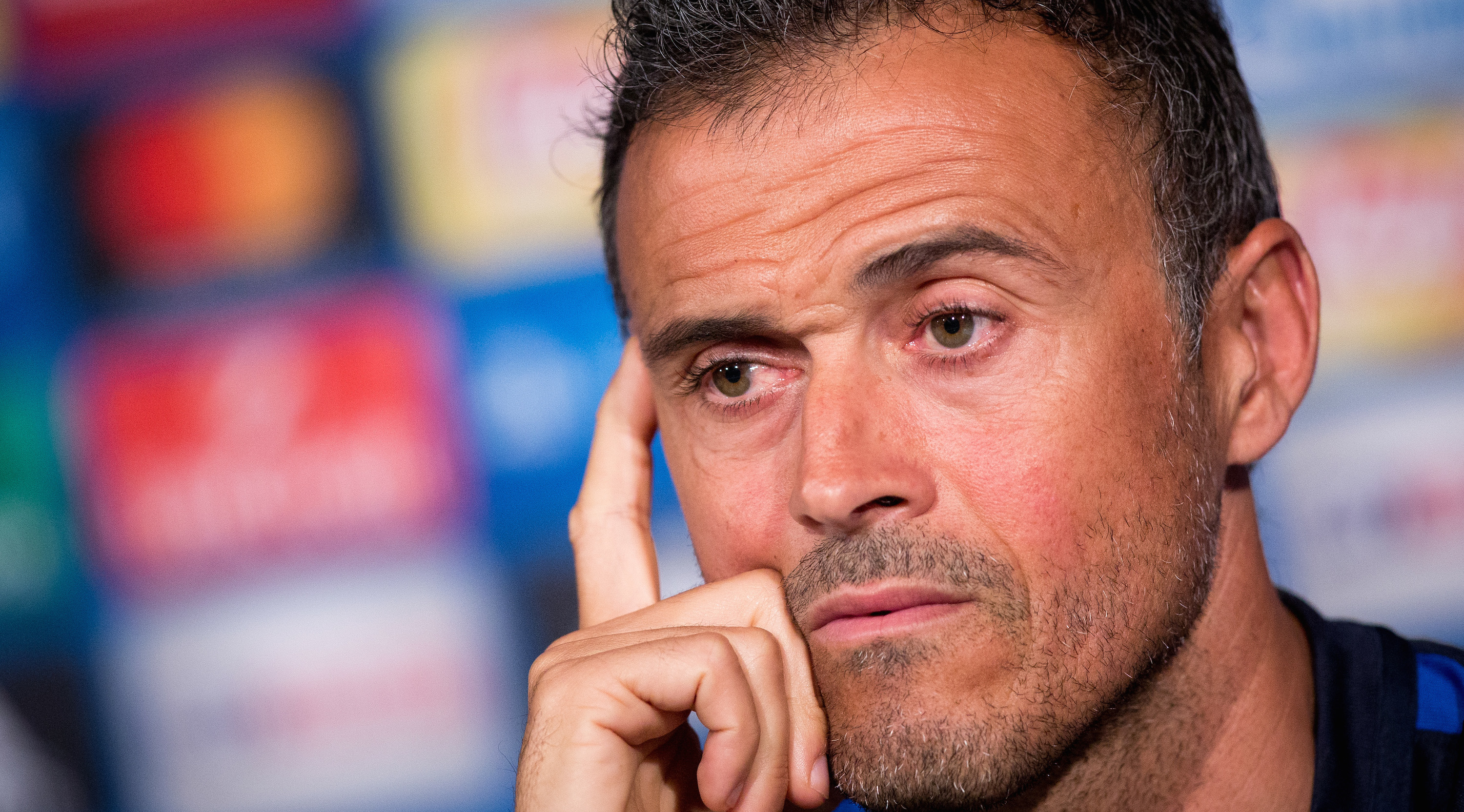 MOENCHENGLADBACH, GERMANY - SEPTEMBER 27: Coach Luis Enrique Martinez Garcia of FC Barcelona looks on during a press conference on the eve of their UEFA Champions League match against VfL Borussia Moenchengladbach at Borussia-Park on September 27, 2016 in Moenchengladbach, Germany. (Photo by Maja Hitij/Bongarts/Getty Images)
