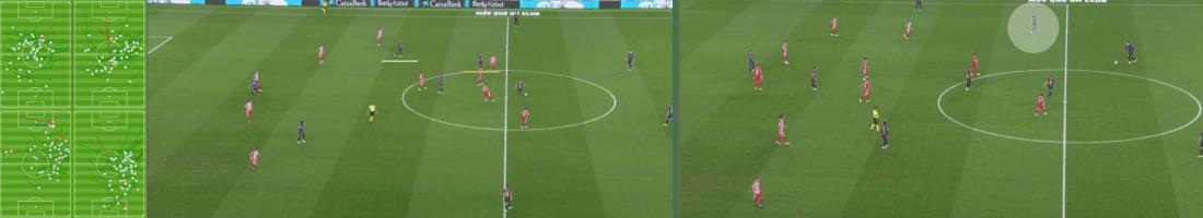 """- Los mapas de pases de Arthur, Vidal, Busquets y Piqué durante el primer tiempo, el intercambio de posiciones entre Messi y Arturo Vidal, y el posicionamiento """"reparador"""" de Busquets. (mapas vía fcbarcelona.cat)-"""