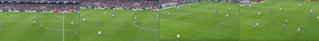- Cuatro momentos de la presión con la que el Barça dominó el primer tiempo contra el Valencia. -