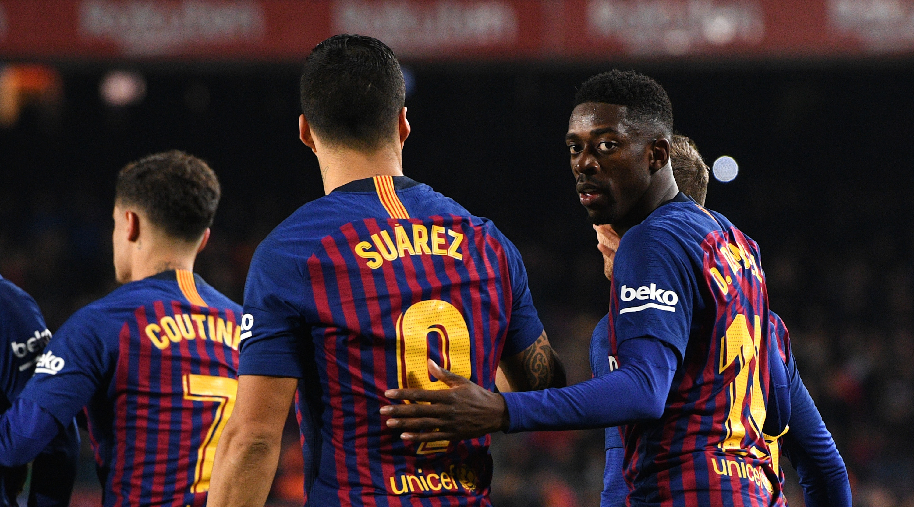 BARCELONA, SPAIN - JANUARY 20: Ousmane Dembele of Barcelona (11) celebrates after scoring his team's first goal with Luis Suarez (9) and team mates during the La Liga match between FC Barcelona and CD Leganes at Camp Nou on January 20, 2019 in Barcelona, Spain. (Photo by David Ramos/Getty Images)