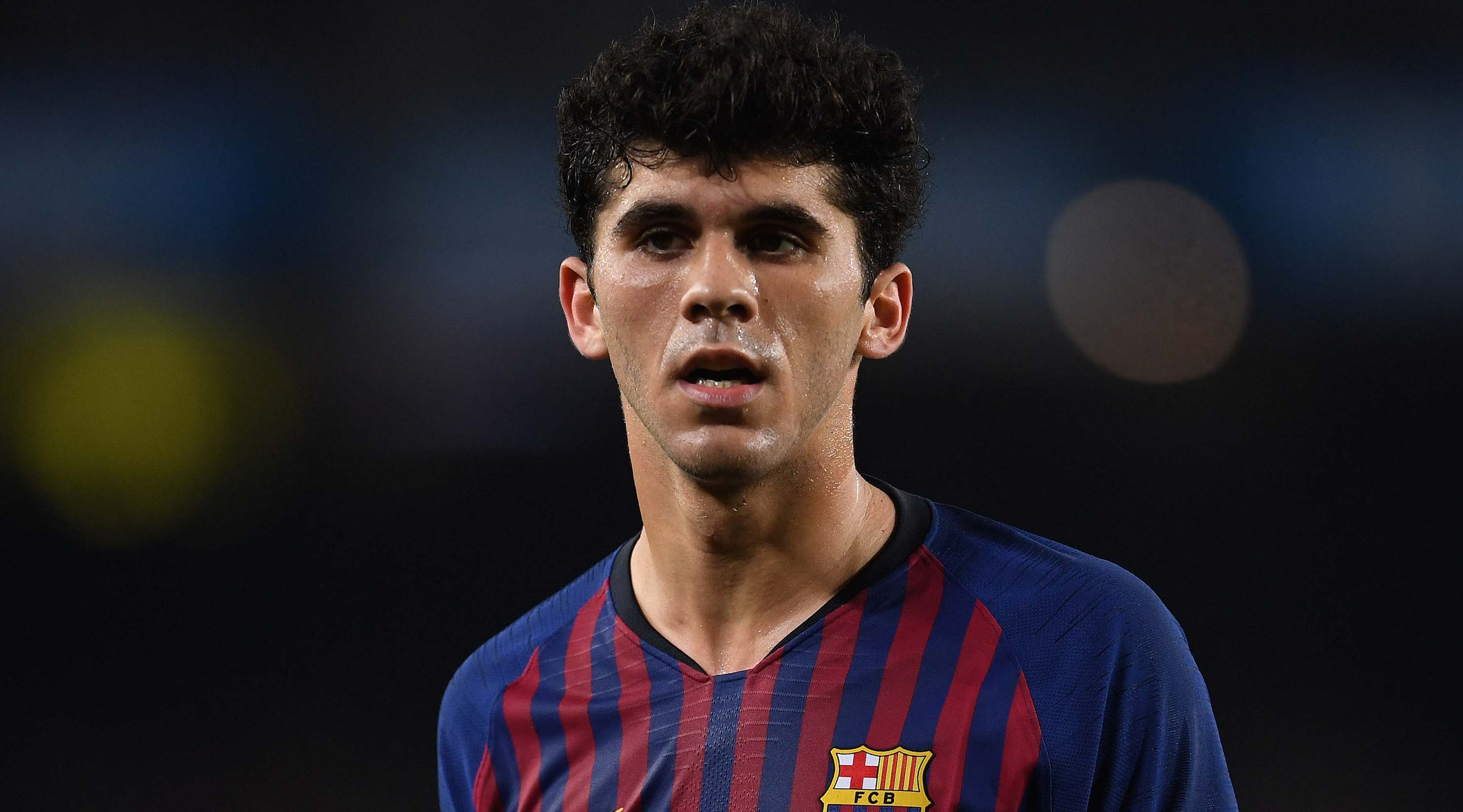 BARCELONA, SPAIN - FEBRUARY 16: Carles Alena of FC Barcelona looks on during the La Liga match between FC Barcelona and Real Valladolid CF at Camp Nou on February 16, 2019 in Barcelona, Spain. (Photo by David Ramos/Getty Images)