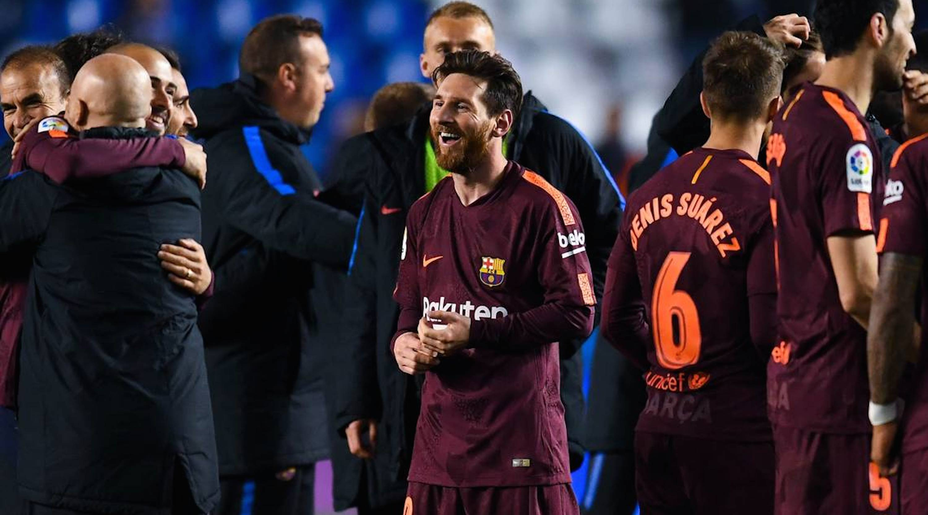 LA CORUNA, SPAIN - APRIL 29: Lionel Messi of FC Barcelona celebrates with his team mates winning La Liga title after the La Liga match between Deportivo La Coruna and Barcelona at Estadio Riazor on April 29, 2018 in La Coruna, Spain . (Photo by David Ramos/Getty Images)