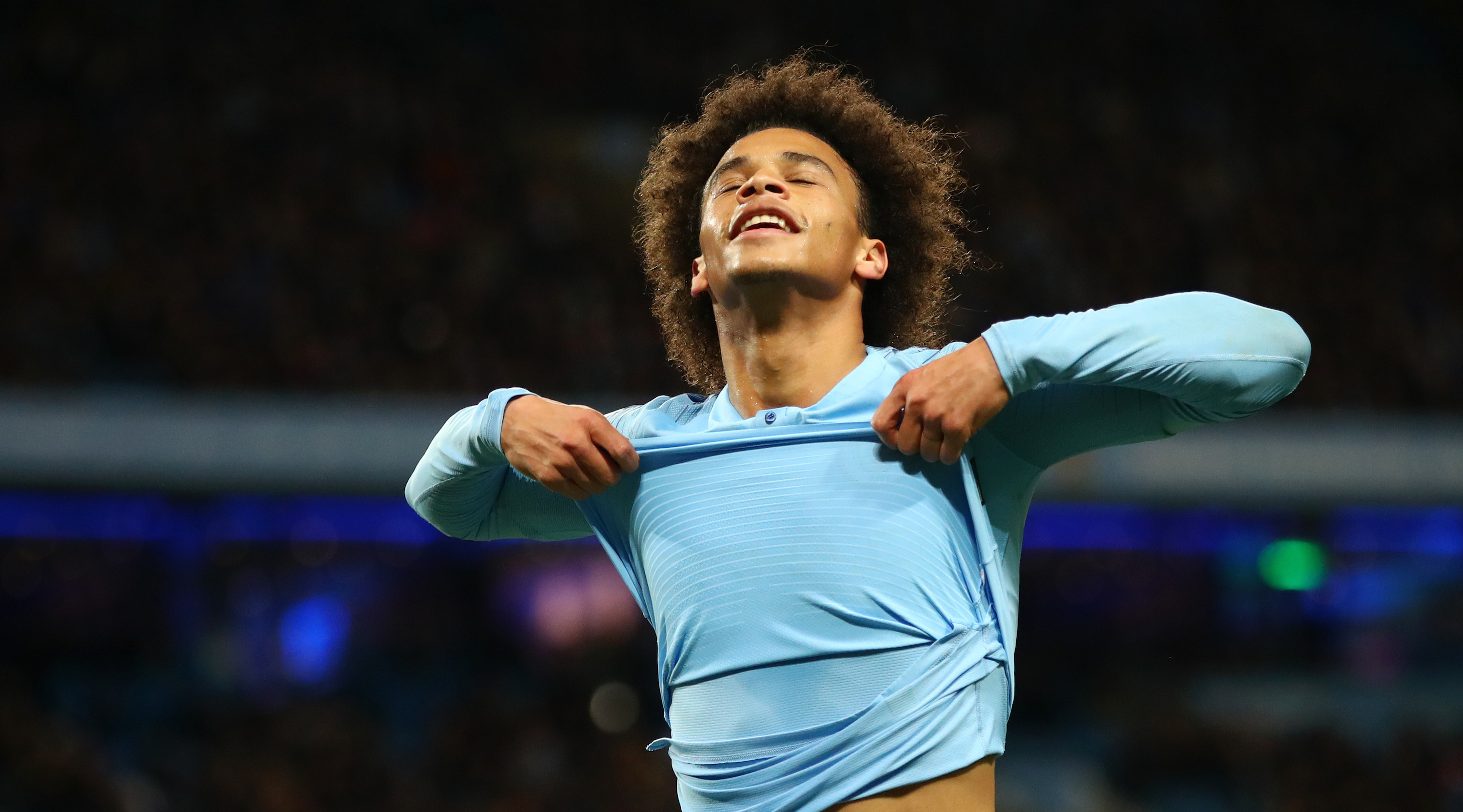 Leroy Sane of Manchester City reacts during the Premier League match between Manchester City and AFC Bournemouth at Etihad Stadium on December 1, 2018 in Manchester, United Kingdom. (Photo by Clive Brunskill/Getty Images)