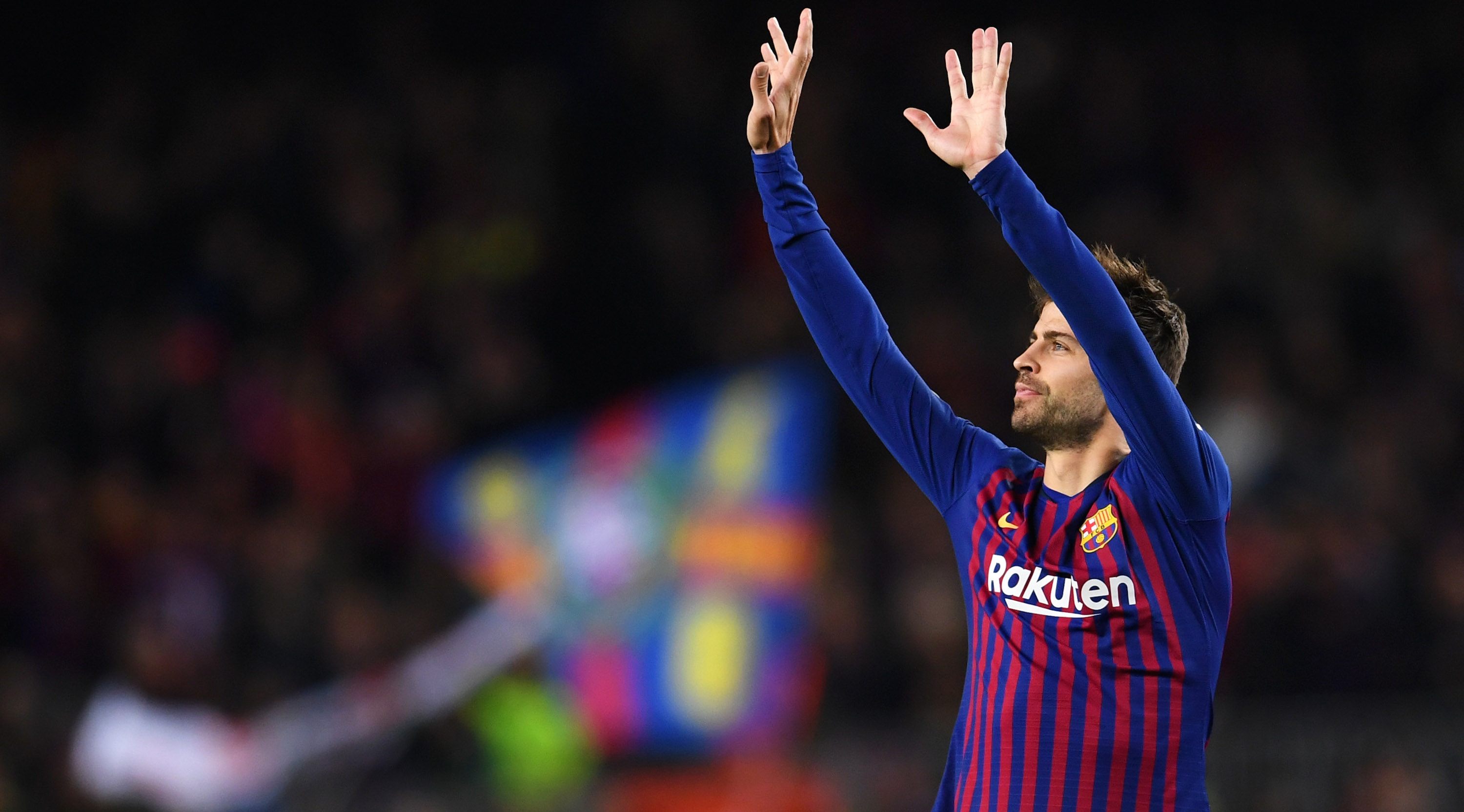 Gerard Pique of Barcelona celebrates after scoring his team's first goal during the La Liga match between FC Barcelona and Villarreal CF at Camp Nou on December 2, 2018 in Barcelona, Spain. (Photo by David Ramos/Getty Images)