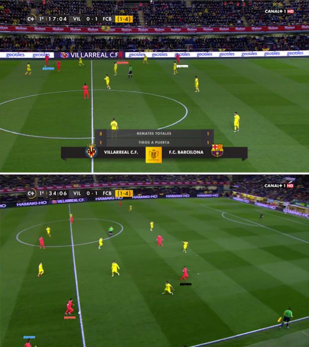 Las dos escaleras del Barça en salida ante el Villarreal. Arriba la de banda izquierda (Alba-Neymar-Suárez) y abajo la de banda derecha (Montoya-Messi-Rafinha).