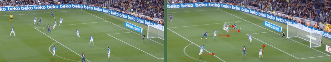 - Ejemplo de cómo recibiendo el pase en profundidad y a la espalda de la defensa, Jordi Alba gira a los contrarios y los hace correr hacia su propia portería.-