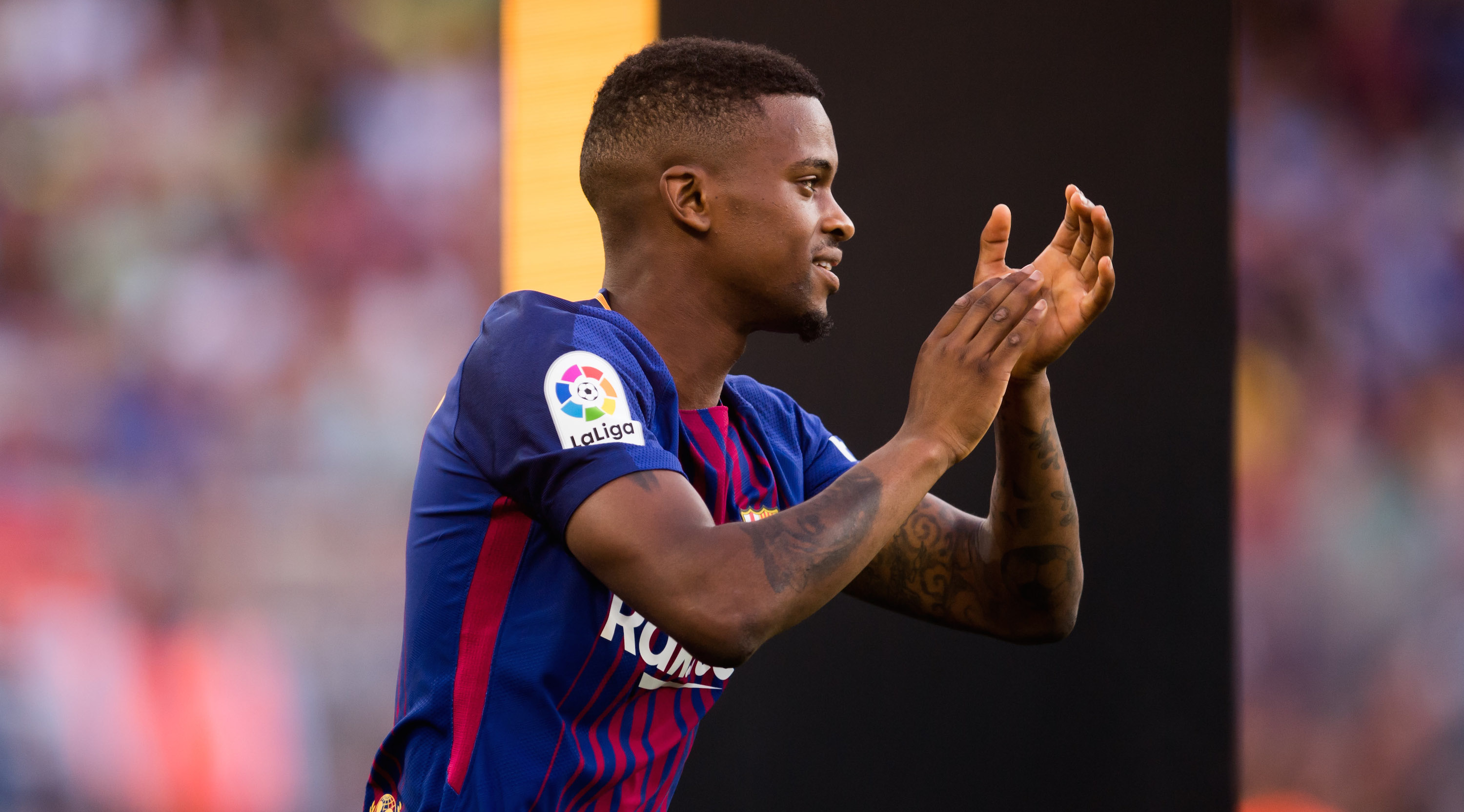 BARCELONA, SPAIN - AUGUST 07: Nelson Semedo of FC Barcelona enters the pitch ahead of the Joan Gamper Trophy match between FC Barcelona and Chapecoense at Camp Nou stadium on August 7, 2017 in Barcelona, Spain. (Photo by Alex Caparros/Getty Images)