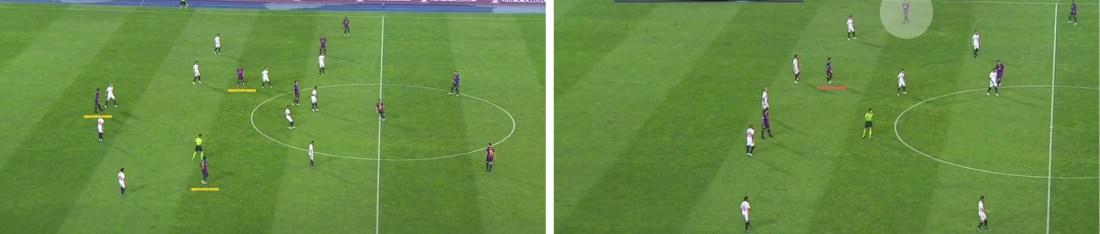 - A la izquierda, la posición de los tres delanteros del Barça. A la derecha, los movimientos de Rafinha hacia la banda derecha. -