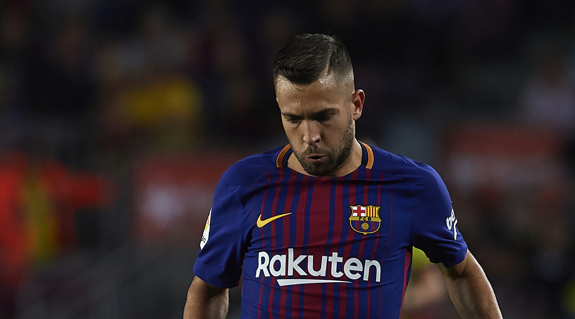 BARCELONA, SPAIN - SEPTEMBER 09: Jordi Alba of Barcelona in action during the La Liga match between Barcelona and Espanyol at Camp Nou on September 9, 2017 in Barcelona, Spain. (Photo by Manuel Queimadelos Alonso/Getty Images)