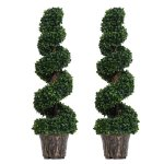 Outsunny Pe Set Of 2 Artificial Boxwood Spiral Topiary Plant Tree S Green Artificial Plants Aosom Uk