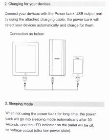 AFENDO 16000mAh Dual USB 2.1A 1A External Battery Charger - Manual.