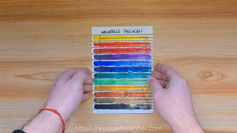 Tabela de cores feita com as aquarelas Pelikan