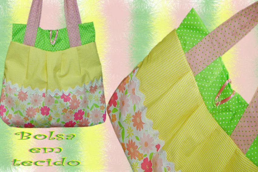 bolsa verde amarela floral