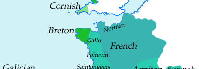 Western Europe: Celtic languages, Celtic-influenced Romance languages (1500-2000 AD)