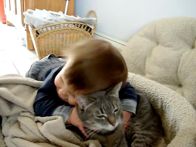猫をギュッとする赤ちゃん