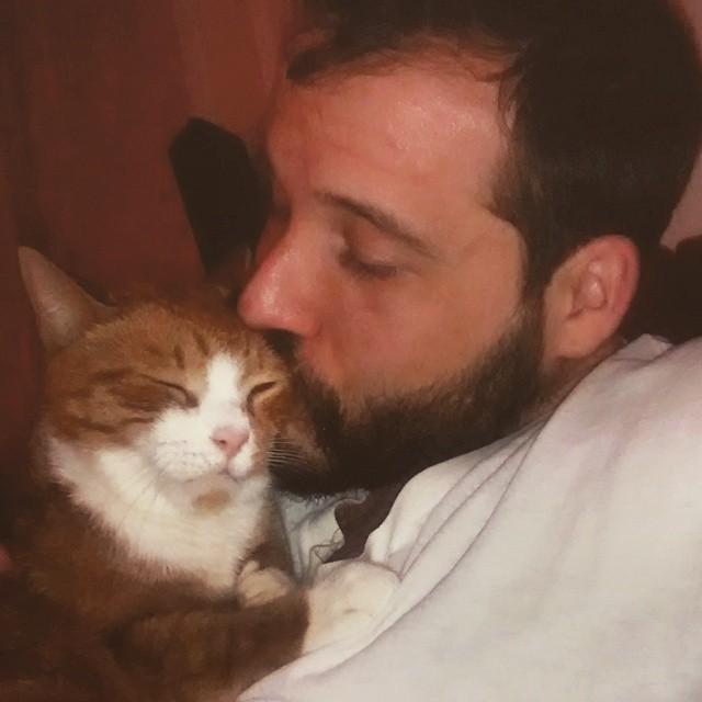 キスする猫と飼い主さん