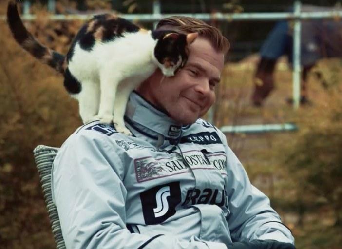 肩に登る猫