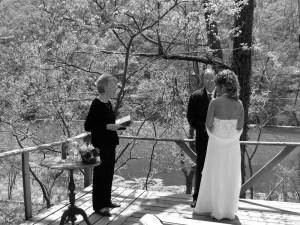 Wedding on deck overlooking Lake Lucerne in Eureka Springs, AR
