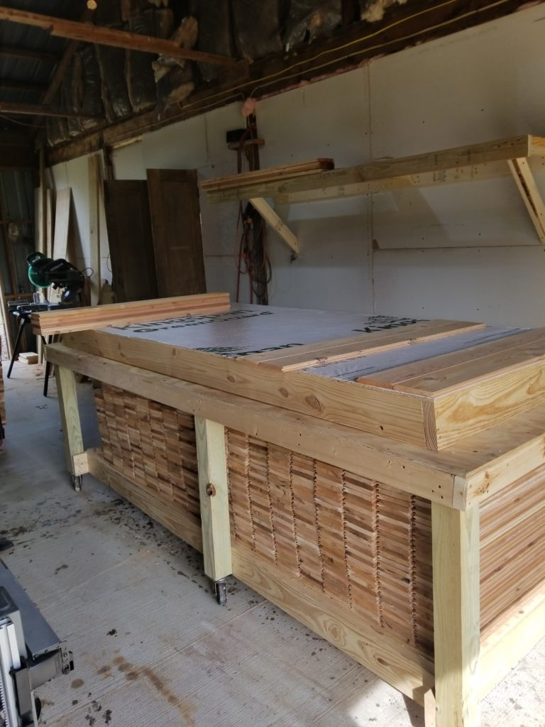Prepping wall panel with outer cedar cut with tongue and V grove underneath.