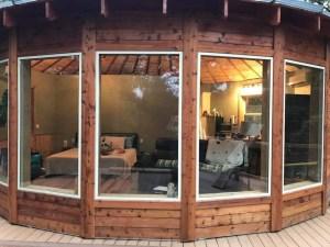 Looking in yurt windows