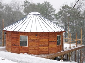 Fresh snow on 25' Yurt