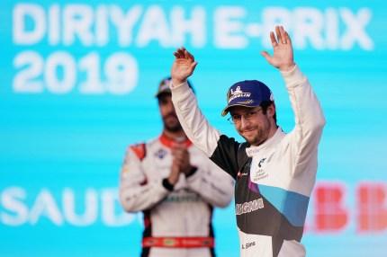 RIYADH STREET CIRCUIT, SAUDI ARABIA - NOVEMBER 23: Alexander Sims (GBR) BMW I Andretti Motorsports, BMW iFE.20 celebrates on the podium during the Diriyah E-prix II at Riyadh Street Circuit on November 23, 2019 in Riyadh Street Circuit, Saudi Arabia.