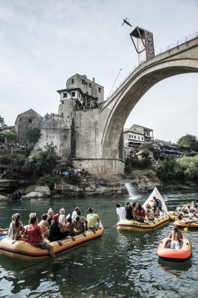 Todor Spasov of Bulgaria dives from the 28 metre platform on the Stari Most bridge during the sixth stop of the Red Bull Cliff Diving World Series, Mostar, Bosnia and Herzegovina on August 15th 2015.