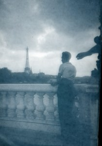 Dad viewing the Eiffel Tower
