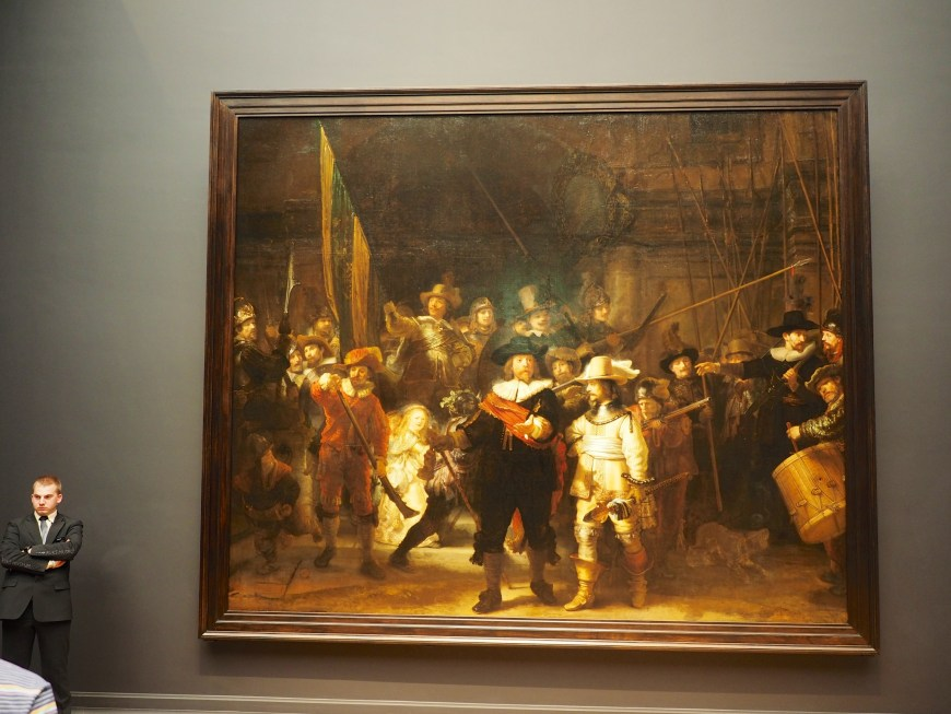 The Night Watch - Rembrandt van Rijn (1642). The centrepiece of the museum art collection. Huge and notable in its composition because of its use of light and shadow, and its sense of motion. Once a bigger piece, but the edges were removed so it could fit a particular wall.