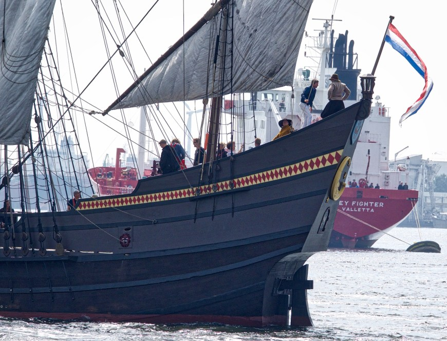 Several of the replica vessels were crewed by people in costume.