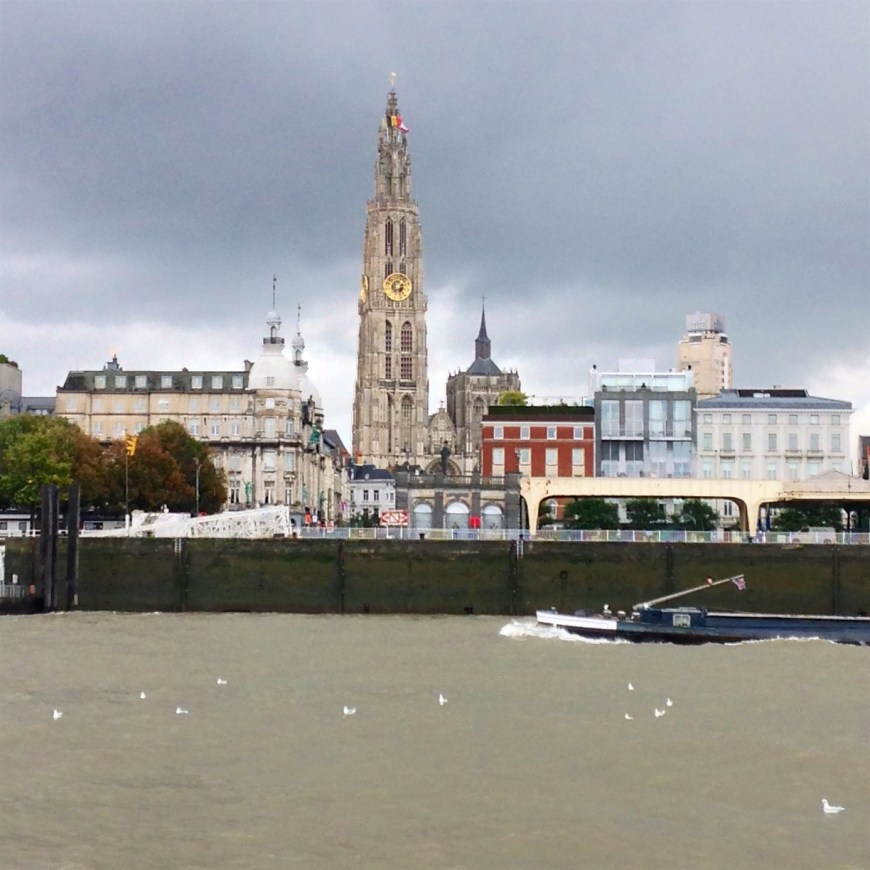 A view of how the steeple of Our Lady, the highest in Benelux, towers over Antwerp.