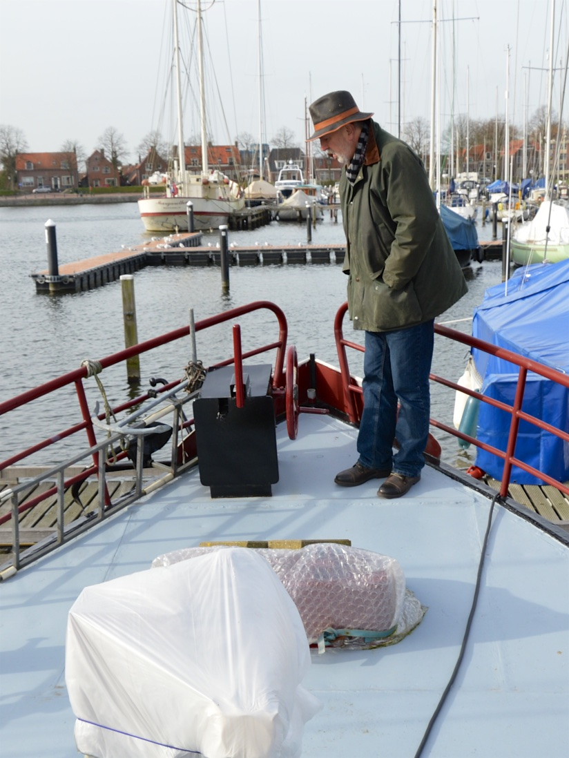 Michel checks out the anchor winch on Neo Vita in mid-winter