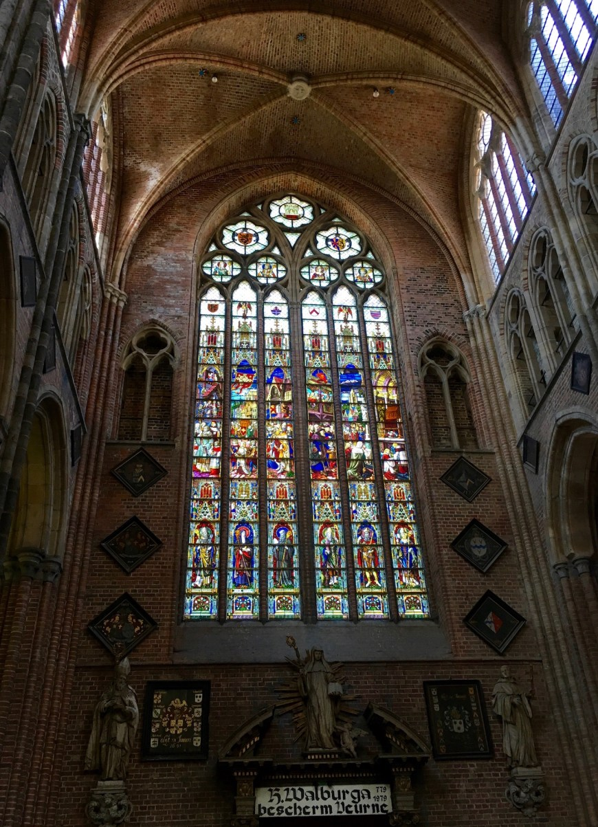 Magnificent stained glass windows in the church of Saint Walburga