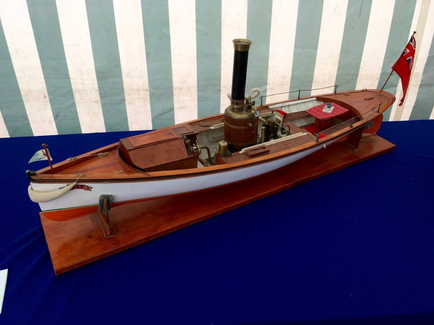 Replica of a UK steam cutter and its steam engine works and powers the boat.