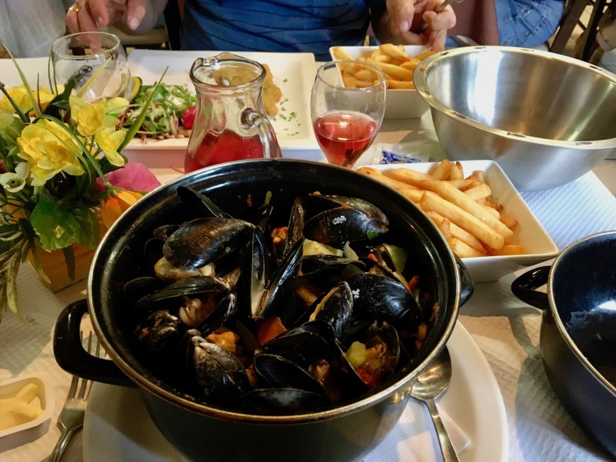 A standard Belgian dish - moules and frites (mussels and chips).