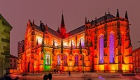 В Кошице засияла праздничная иллюминация готического собора Святой Елизаветы