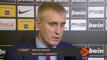 Kemzura, coach dell'Olympiacos spera in un arbitraggio senza condizionamenti